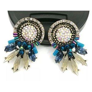 Handmade multi crystal ear drop tassel earrings
